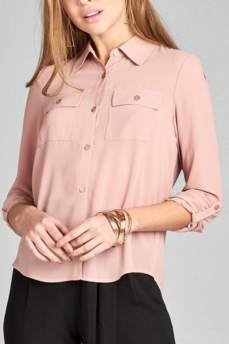 Ladies fashion long sleeve front pocket chiffon blouse w/ back button detail -id.CC35641g