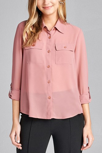 Ladies fashion long sleeve front pocket chiffon blouse w/ back button detail-id.CC35641i