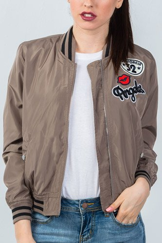 Ladies fashion ribbed trim patch bomber jacket-id.CC35645a