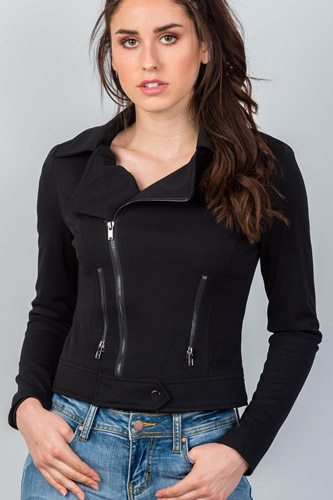 Ladies fashion asymmetric zippered faux suede jacket-id.CC35649