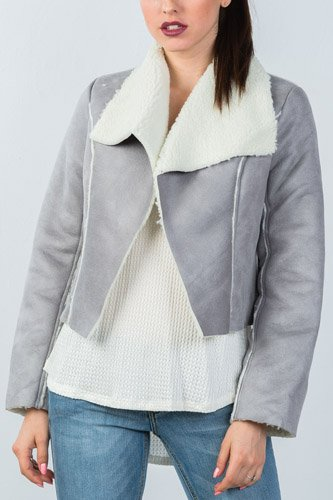 Ladies fashion relaxed fit faux sheepskin drape neck jacket-id.CC35653a