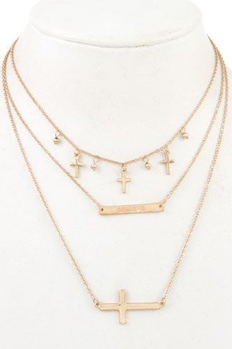 Ladies fashion multi cross dangle layered necklace-id.CC35657