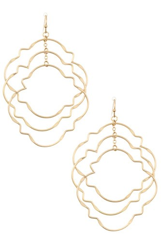 Ladies fashion multi link quatrefoil dangle earring -id.CC35661