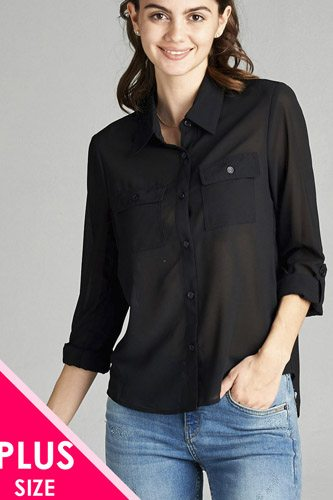 Ladies fashion plus size long sleeve front pocket chiffon blouse w/black button detail-id.CC35668b