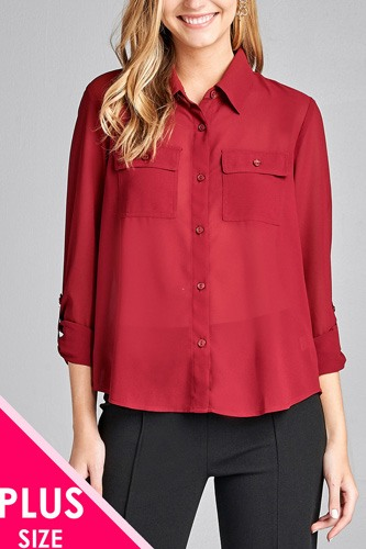 Ladies fashion plus size long sleeve front pocket chiffon blouse w/black button detail-id.CC35668c