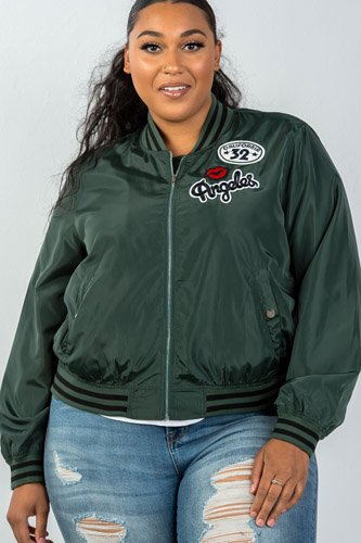 Ladies fashion plus size dark green patch bomber jacket-id.CC35670