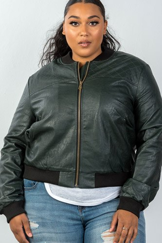 Ladies fashion plus size fully lined peacock pleather bomber jacket-id.CC35671