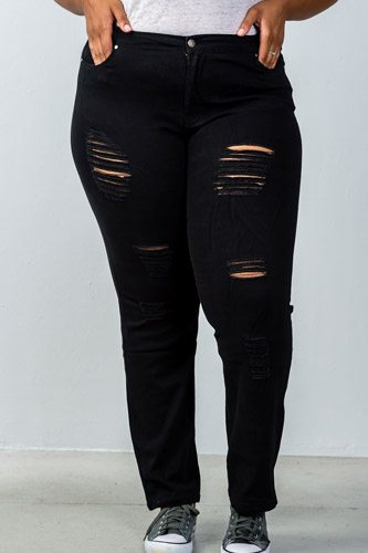 Ladies fashion plus size mid rise distressed jeans-id.CC35674