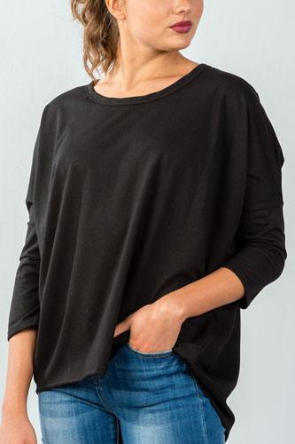 Ladies fashion black button up back long sleeve sweater -id.CC35698