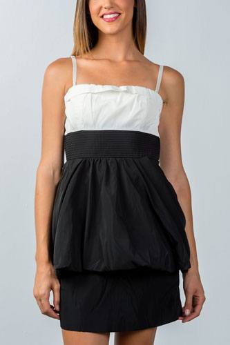 Ladies fashion white and black colorblock mini dress-id.CC35705