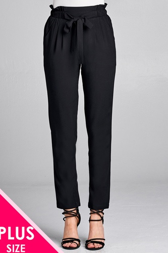 Ladies fashion plus size self ribbon detail long leg woven pants-id.CC35717