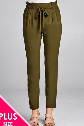 Ladies fashion plus size self ribbon detail long leg woven pants-id.CC35717a