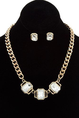Ladies fashion faceted link gem chain necklace set -id.CC35733