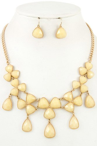 Ladies fashion faceted link bib necklace set-id.CC35735