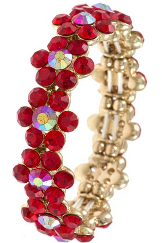Ladies fashion round crystal gem floral link bracelet -id.CC35737