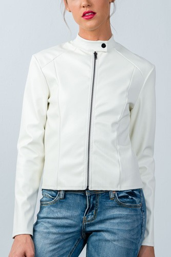 Ladies fashion snap button mock neck zip-up moto jacket-id.CC35751