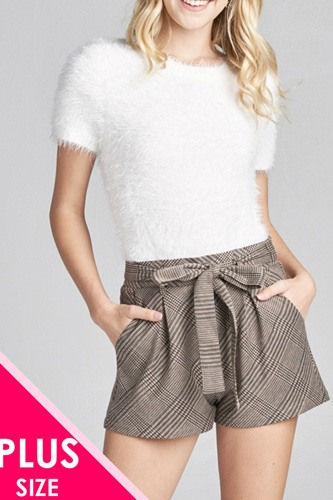 Ladies fashion plus size waist belt w/tie detail jacquard check short pants-id.CC35770