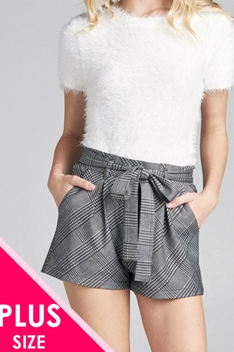 Ladies fashion plus size waist belt w/tie detail jacquard check short pants-id.CC35770a