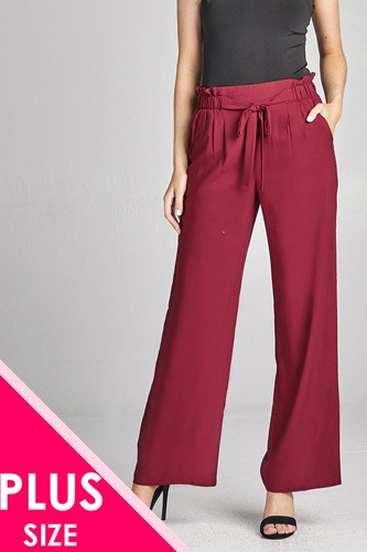 Ladies fashion plus size self ribbon detail long wide leg woven pants-id.CC35771