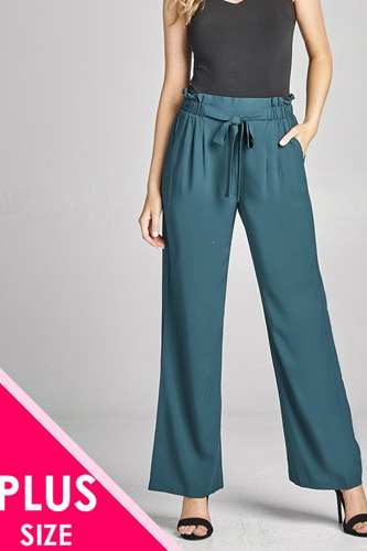 Ladies fashion plus size self ribbon detail long wide leg woven pants-id.CC35771a