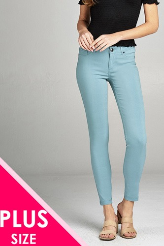 Ladies fashion plus size basic 5 pocket shape long pants-id.CC35774