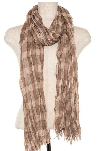 Squared pattern fringe end oblong scarf-id.CC35788