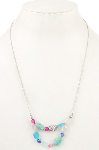 Gemstone double row long necklace-id.CC35801