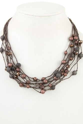 Faceted bead multi row necklace-id.CC35803