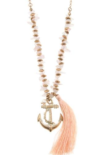 Anchor tassel pendant chipped gem necklace set-id.CC35805