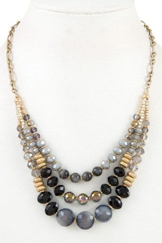 Multi low glass bead necklace set-id.CC35806