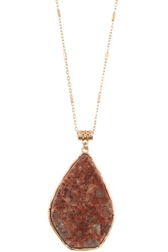 Drop framed stone pendant long necklace-id.CC35809