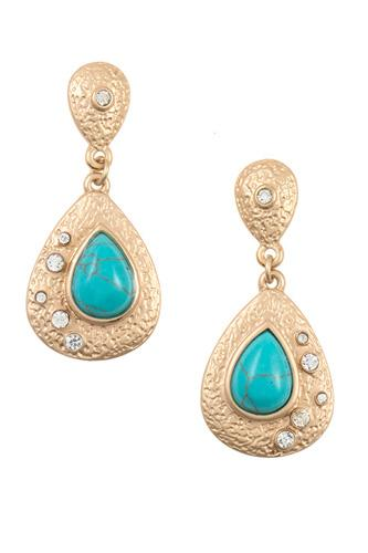 Textured teardrop gem dangle earring-id.CC35815
