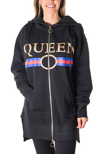 Ladies fashion fleece zip up sweatshirt oversize long hoodie outerwear jacket with applique-id.CC35842