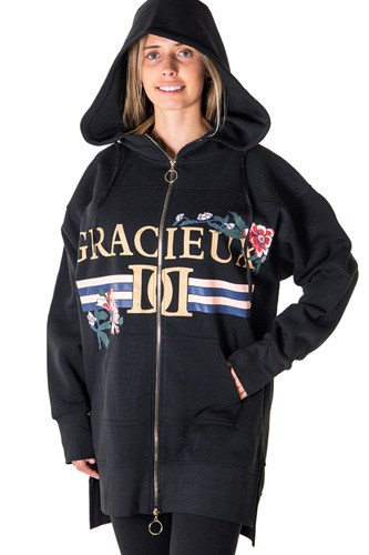 Ladies fashion fleece zip up sweatshirt oversize long hoodie outerwear jacket with applique-id.CC35844