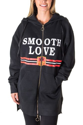 Ladies fashion fleece zip up sweatshirt oversize long hoodie outerwear jacket with applique-id.CC35847