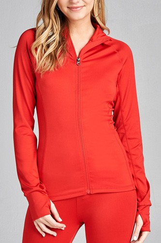 Ladies fashion solid track jacket-id.CC35852h
