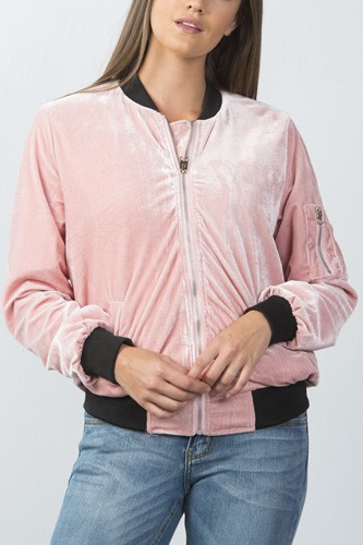 Ladies fashion contrast cuffs velvet bomber jacket-id.CC35861