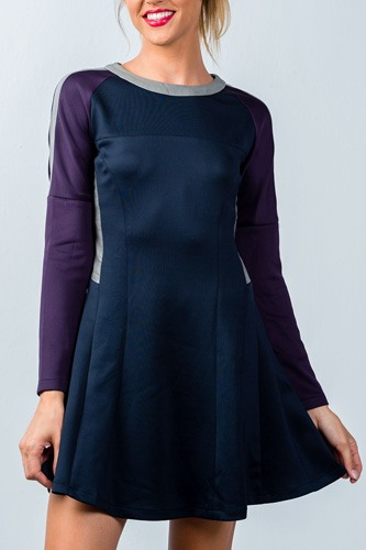Ladies fashion  navy and purple color-block swing dress-id.CC35863