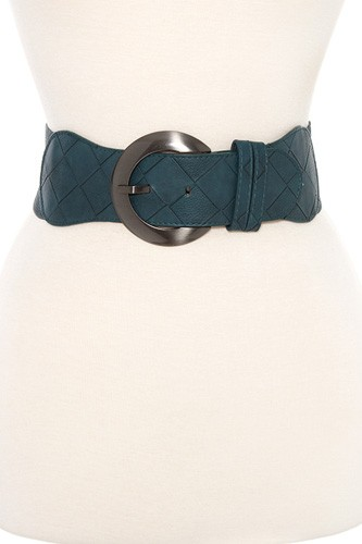 Woven faux leather accent stretch belt-id.CC35871