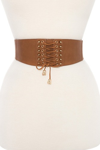 Lace up detailed stretch waist belt-id.CC35872