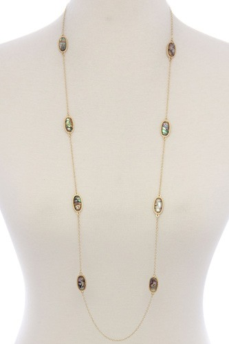 Oval shape stone long necklace-id.CC35874