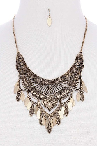 Antique metal pointed oval shape dangle bib statement necklace-id.CC35876