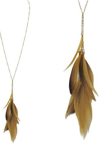 Feather pendant y shape necklace-id.CC35878