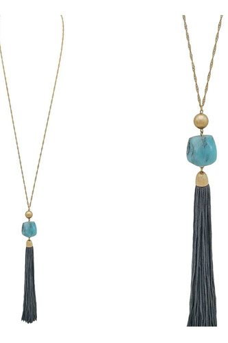 Natural stone leather tassel pendant necklace-id.CC35883
