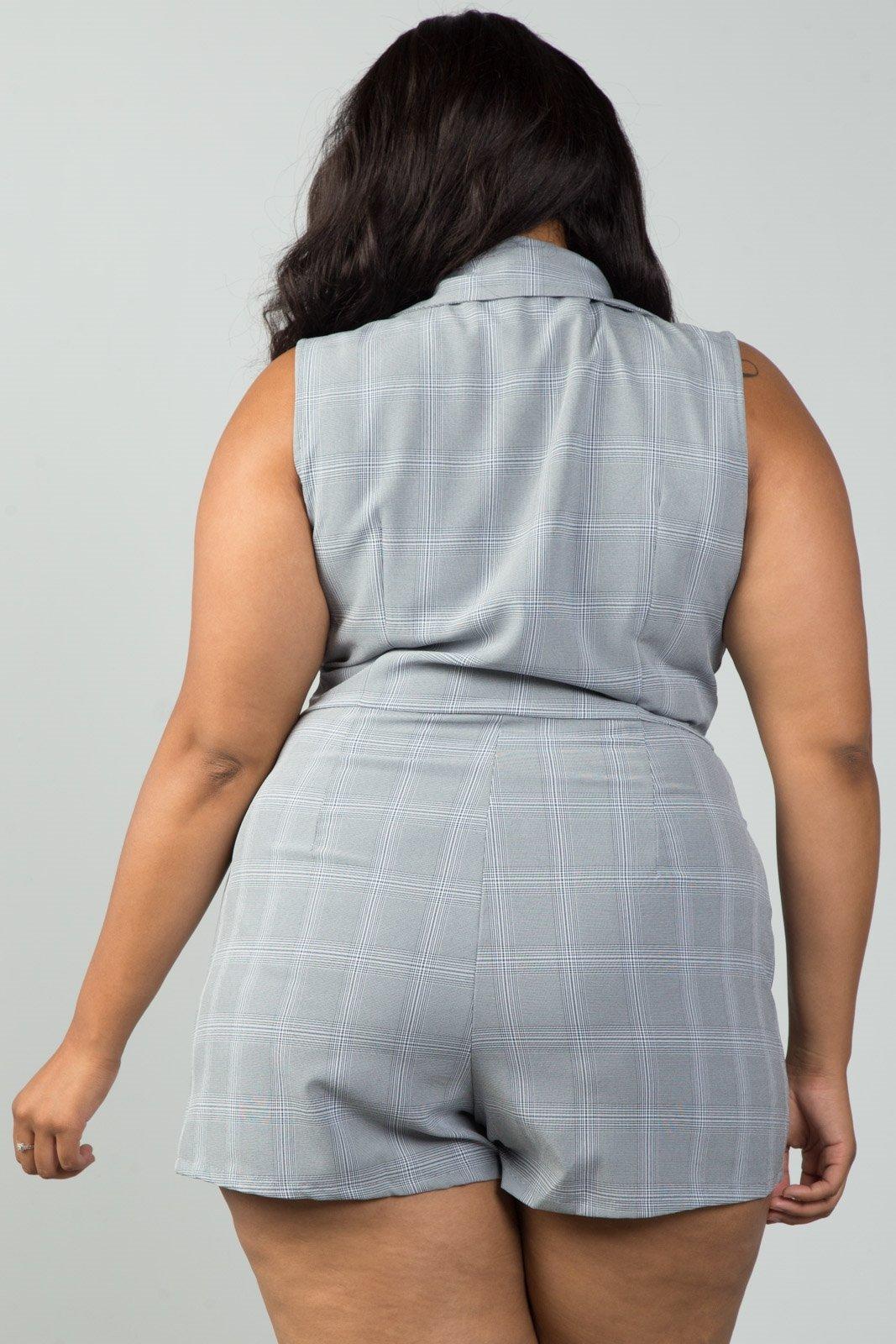 6e26f022b58 Ladies fashion plus size mini length grey glen plaid surplice romper ...