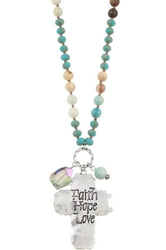 Faith hope love etched cross bead necklace set-id.CC35948