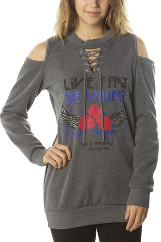Ladies fashion  sweatshirt cold shoulder mini dress tops, pullover, embellished w/ applique-id.CC35984a