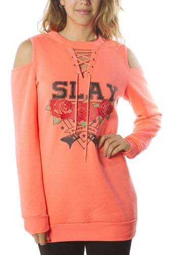 Ladies fashion sweatshirt cold shoulder mini dress hoodies-tops, pullover, embellished w/ applique-id.CC35985