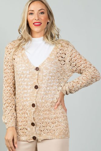 Ladies fashion button down closure crochet knitted color-block cardigan-id.CC35986
