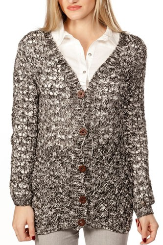 Ladies fashion button down closure crochet knitted color-block cardigan-id.CC35986a